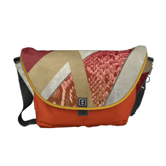 Red Abstract Snakeskin Print Courier Bag