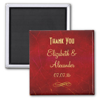 Red Abstract Thank You Weddng favor 2 Inch Square Magnet
