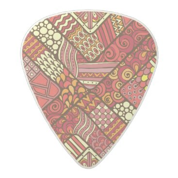Aztec Themed Red abstract tribal aztec pattern acetal guitar pick