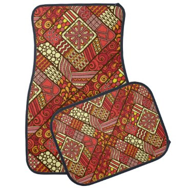 Aztec Themed Red abstract tribal aztec pattern car floor mat