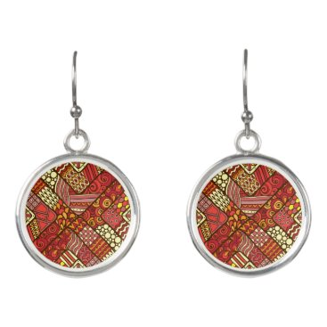 Red abstract tribal aztec pattern earrings