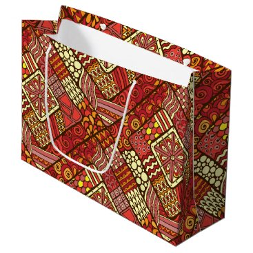 Red abstract tribal aztec pattern large gift bag