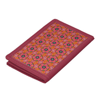 Red Abstract TriFold Nylon Wallet