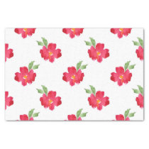 Red Abstract Watercolor Flower Pattern Tissue Paper