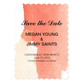 red abstract watercolor save the date 5x7 paper invitation card