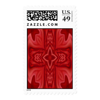 Red abstract wood cross postage