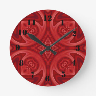 Red abstract wood pattern round wallclock
