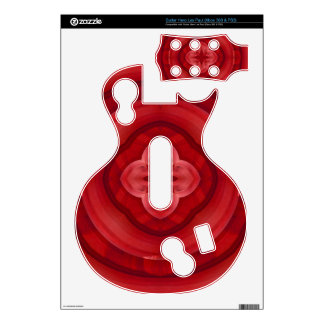 Red abstract wood pattern decals for guitar hero