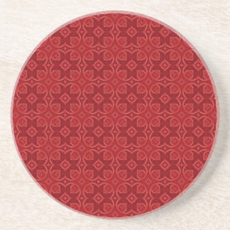 Red abstract wood pattern drink coaster