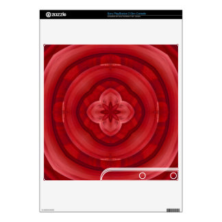 Red abstract wood pattern PS3 slim console skin