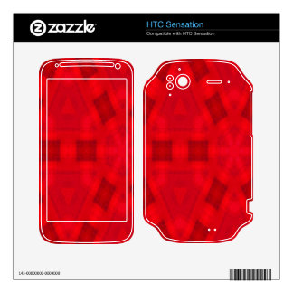 Red abstract wood Pattern Skins For HTC Sensation