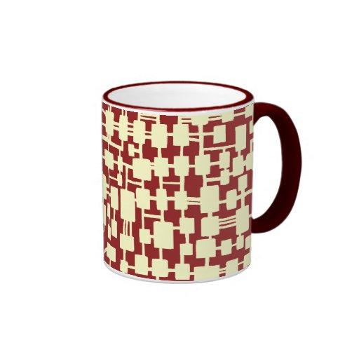 Red abstracta - crema en 941F20 marrón Taza A Dos Colores