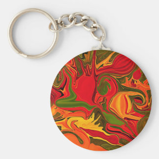 Red abstraction of fire light key ring basic round button keychain