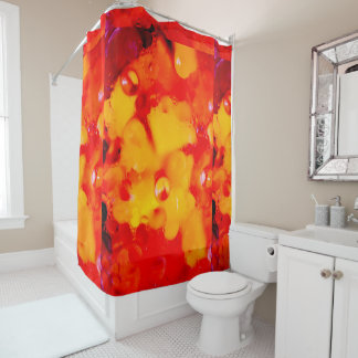 Red abstraction shower curtain