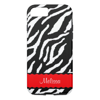 Red Accent With White And Black Tiger iPhone 7 Case