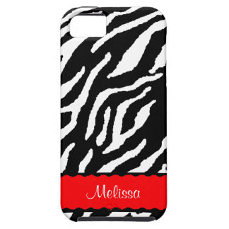 Red Accent With White And Black Tiger Print iPhone SE/5/5s Case