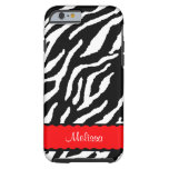 Red Accent With White And Black Tiger Tough iPhone 6 Case