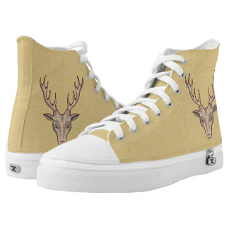Red Accented Brown Deer Head With Large Antlers High-Top Sneakers