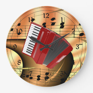 Red Accordion Abstract Design Wall Clocks