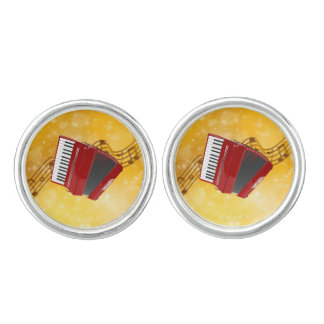 Red Accordion and Musical Notes Cufflinks