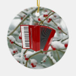 Red Accordion - Berries in the Snow Background Ornament