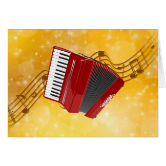 Red Accordion on Musical Notes