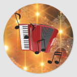 Red Accordion with Musical Notes Classic Round Sticker