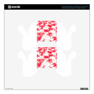Red Acer leaves on white background PS3 Controller Decals