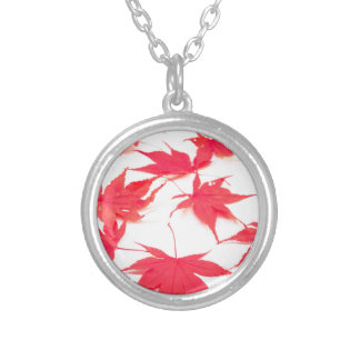 Red Acer leaves on white background Round Pendant Necklace