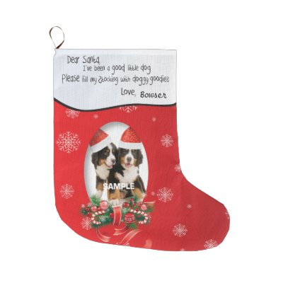 ive been a good dog xmas photo red snowflake large christmas stocking zazzlecom - Large Christmas Stockings