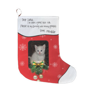 Red ADD YOUR PHOTO Cat Photo Holiday Stocking Large Christmas Stocking