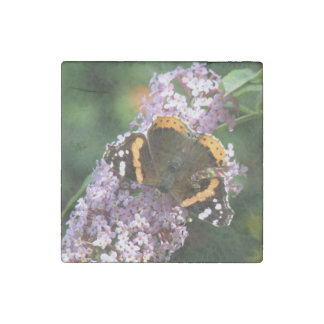 Red Adiral Butterfly and Buddleia Stone Magnet