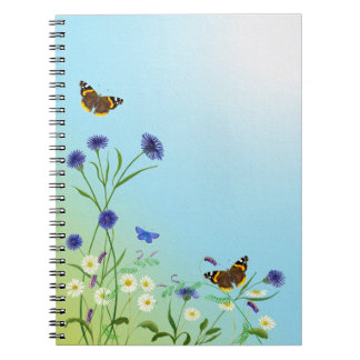 Red-admiral Butterflies Meadow Flowers Painting Notebook