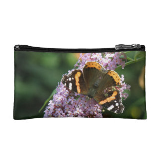 Red Admiral Butterfly and Buddleia Coin Clutch Cosmetics Bags