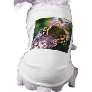 Red Admiral Butterfly and Buddleia Dog T Shirt