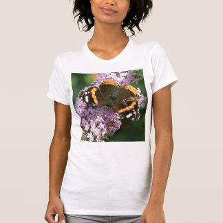 Red Admiral Butterfly and Buddleia Ladies T Shirt
