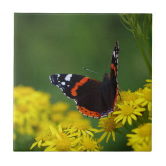 Red Admiral Butterfly Ceramic Tile
