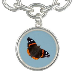 Red Admiral butterfly design charm bracelet