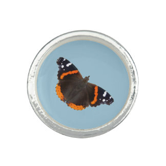 Red Admiral butterfly design rings