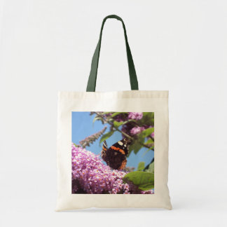 Red Admiral Butterfly on Buddleia Canvas Bags
