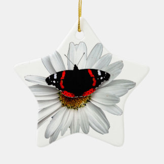 Red Admiral Butterfly on Flower Christmas Tree Ornaments