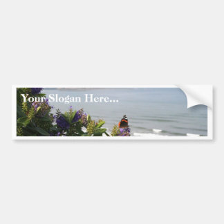 Red Admiral Butterfly On The Flower With A Sea In Bumper Sticker
