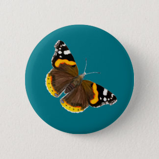 Red Admiral Butterfly Watercolor Artwork Pinback Button