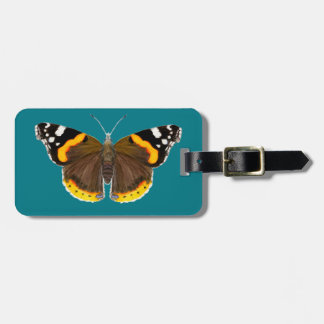 Red Admiral Butterfly Watercolor Painting Artwork Luggage Tag