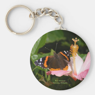 Red Admiral on Hibiscus Keychain