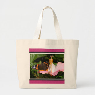 Red Admiral on Hibiscus Large Tote Bag