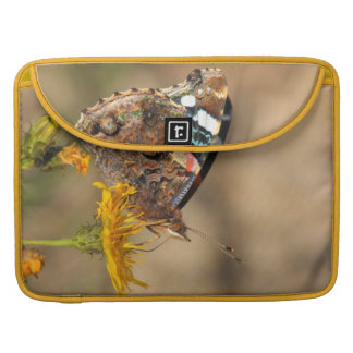 red admiral on yellow flower MacBook pro sleeve