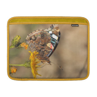 red admiral on yellow flower sleeve for MacBook air