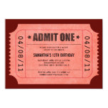 "Red Admit One Ticket Invitations 5"" X 7"" Invitation Card"
