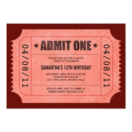 red admit one ticket invitations zazzle com